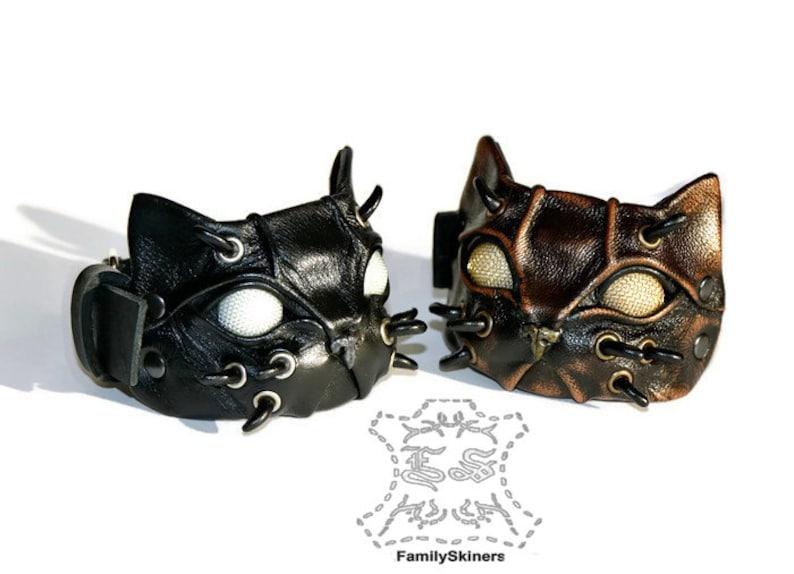 Steampunk bracelet Steampunk cuff Steampunk cat Leather bracelet Halloween Gift cat Steampunk cosplay Cat bracelet kitten kitty