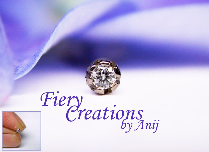 Nose Screw or Tragus stud  Baby Thistle Bud Fine White 1.5mm Diamond set in 18k SOLID White Gold