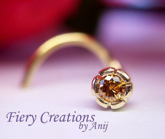 Nose Screw  Tragus stud Flowering Thistle OOAK Luscious Cognac Diamond 18kt  SOLID Yellow Gold with a 3pt 1.9mm