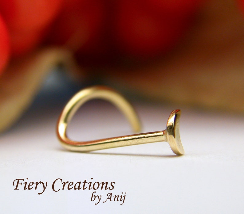 Nose Screw  Tragus stud  Crescent Moon 18kt  SOLID yellow Gold high polished