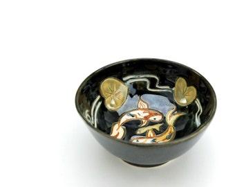 GemFOX Koi Ceramic Bowl Wheel Thrown Stoneware Pottery  SRA USA