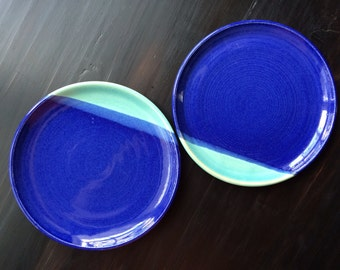 Set of 2 Cobalt Magic Plates Wheel Thrown Stoneware Ceramic Pottery by GemFOX Lapis Blue Aqua Turquoise