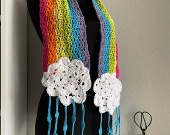 Rainbow Scarf with Clouds and Raindrop Fringe