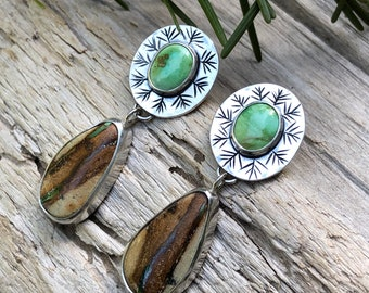 Sonoran Gold, Royston Ribbon Turquoise Stud Drop Earrings, Pine Needle Design, Sterling Silver