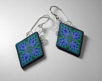 Polymer Clay Millefiori Leaf Danglle Earrings- sterling silver scroll work and ear wires