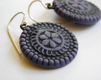 Vintage Button Design Beeswax Clay Earrings- dangle disk earrings-eco earrings