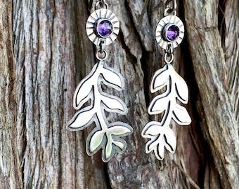 Leafy Vine Amethyst Earrings, Sterling Silver, Handcrafted, dangle earrings