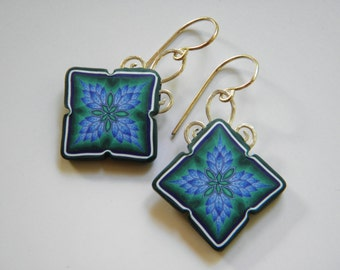 Polymer Clay Millefiori Leaf Dangle Earrings- sterling silver scroll work and ear wires