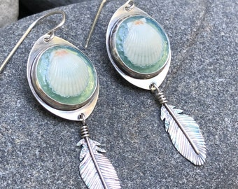 Green Waters Sea and Sky Earrings, Tiny Kauai Shells, Sterling Silver Feathers