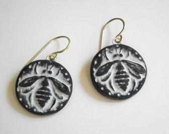 Bee Earrings- Polymer Clay Bee Earrings- dangle disk earrings