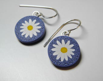 Denim and Daisy Dangle Earrings-Millefiori Polymer Clay
