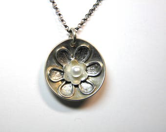 Sterling Silver Flower and Pearl Pendant- Handmade