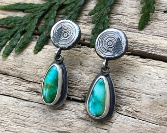 Log Slice/Radiating Sun Stud Drops, Sonoran Mountain Turquoise, Recycled Silver