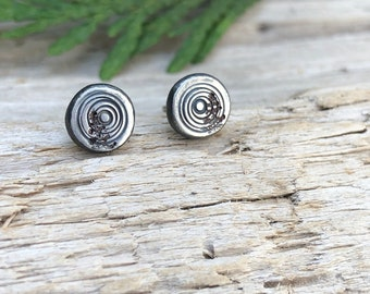 Log Slice/Radiant Sun Tree Stud Earrings, Recycled Sterling Silver, Handcrafted, USA made