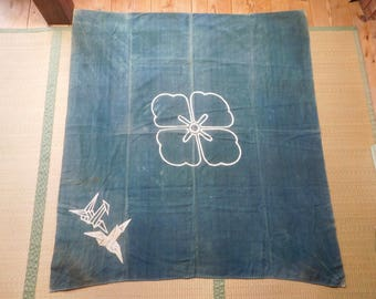 ANTiQUE HoMESPUN INDiGO DYeD TSUTSUGAKI FuROSHIKI - FREE SHiPPiNG!!!