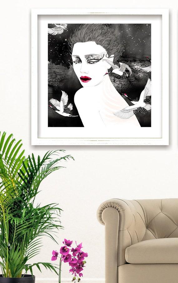 Fashion illustration art print // figure drawing // Voyage privé 2 // Woman portraiture illustration