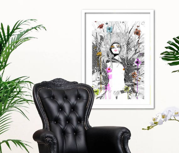 Limited Edition Fashion Illustration Art Print //Feminine and floral style // fine line art // Art print