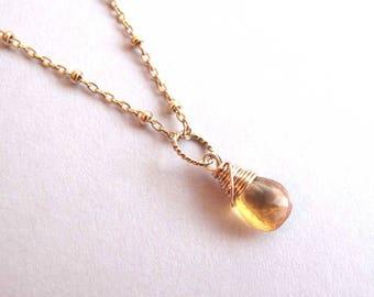 Citrine Necklace, Petite Gold Citrine Necklace, November Birthstone Necklace, Gemstone Necklace, Dainty Pendant Necklace