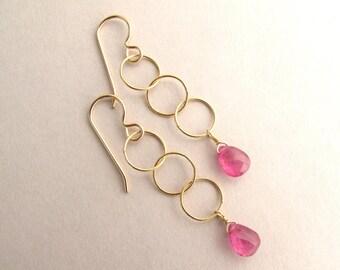 Genuine Pink Sapphire Earrings, Gemstone Drop Earrings, Pink Earrings, Dangle Earrings, Gold Sapphire Earrings