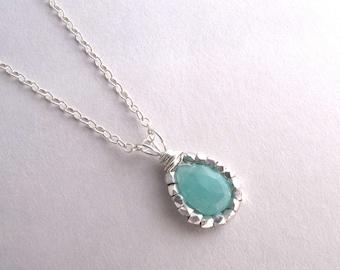 Amazonite Necklace, Blue Gemstone Necklace, Sterling Silver Pendant Necklace, Aqua Necklace