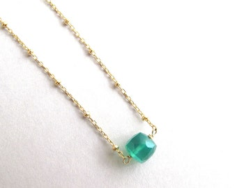 Emerald Green Necklace, Green Onyx Necklace, Dainty Gemstone Necklace, Layering Necklace, May Birthstone Gift, Simple Necklace