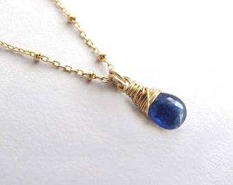 Genuine Blue Sapphire Necklace, Petite Gold Sapphire Necklace, September Birthstone Necklace, Gemstone Necklace, Dainty Pendant Necklace
