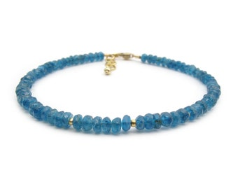 Dainty Apatite Bracelet, Genuine Gemstone Teal Blue Stacking Bracelet, Chakra Bracelet, Delicate Gemstone Bracelet for Women (silver / gold)