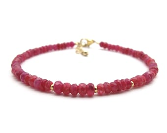 Dainty Ruby Bracelet, Genuine Gemstone July Birthstone Stacking Bracelet, Dark Pink Jewelry Bracelet for Women (sterling silver / gold fill)