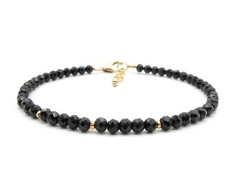 Dainty Black Tourmaline Bracelet, Genuine Gemstone Stacking Bracelet, Yoga Jewelry October Birthstone Bracelet for Women (silver / gold)