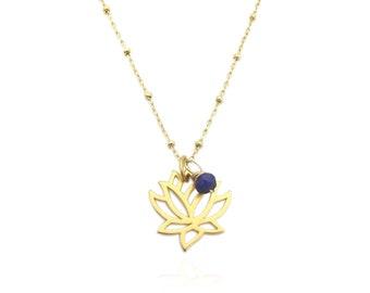 Genuine Blue Sapphire Accent Gold Lotus Flower Pendant Necklace, September Birthstone Gemstone Necklace, Dainty Minimalist Layering Necklace