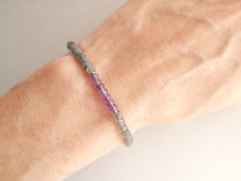 Labradorite Gemstone Bracelet Dainty Amethyst Boho Style Beaded Stacking Bracelet in 14k gold filled or sterling silver