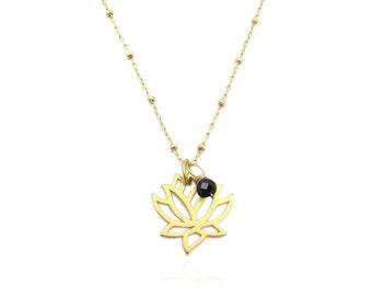 Black Tourmaline Necklace, Gold Lotus Flower Pendant Necklace, October Birthstone Genuine Gemstone Dainty Minimalist Protection Necklace