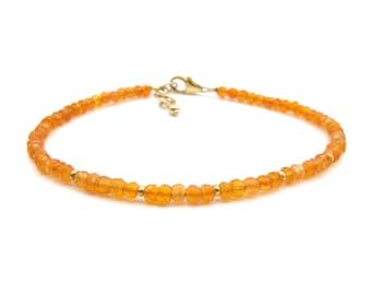 Dainty Carnelian Bracelet, Genuine Gemstone Orange Bracelet, Healing Crystals Chakra Bracelet for Women (sterling silver or 14k gold filled)