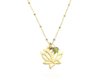 Genuine Peridot Accent Gold Lotus Flower Pendant Necklace, August Birthstone Gemstone Necklace, Dainty Layering Necklace