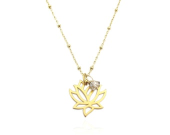 Clear Quartz Gemstone Gold Lotus Flower Pendant Necklace, April Birthstone Layering Necklace, Herkimer Diamond Dainty Mudflower Necklace