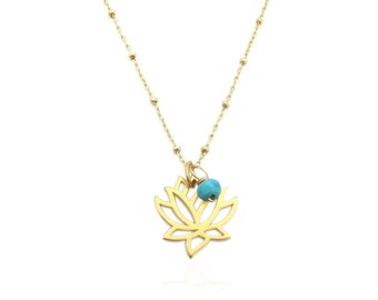 Gold Lotus Flower Necklace, Custom Birthstone Gemstone Charm Pendant Necklace, Dainty Layering Necklace, with or w/o stone (PICK A STONE)