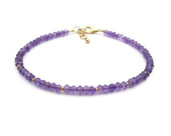 Dainty Amethyst Bracelet, Genuine Gemstone Purple Stacking Bracelet, February Birthstone Delicate Gemstone Bracelet (silver / gold)
