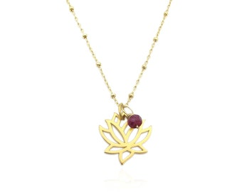 Genuine Ruby Accent Gold Lotus Flower Pendant Necklace, July Birthstone Gemstone Necklace, Dainty Layering Necklace