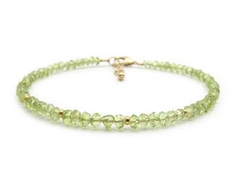 Dainty Peridot Bracelet, Genuine Gemstone August Birthstone Stacking Bracelet, Green Bracelet for Women (sterling silver / 14k gold filled)