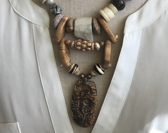 Earthy Primitive Tribal Inspired Artisan Necklace