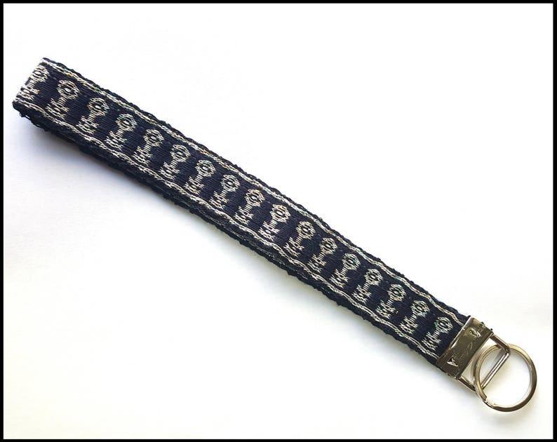 Skeleton Keys Tablet Weaving LanyardKey Chain Dark Blue Silver