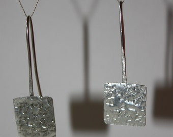Silver Drop Earrings - Square Surface