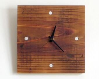 WOOD WALL CLOCK> Father's Day Reclaimed Douglas Fir Small Hanging Clock—Graduation Housewarming Birthday Gift—Horloge Bois/Reloj Madera Eco