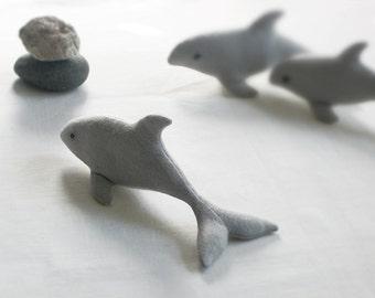 Eco-friendly DOLPHIN Soft Sculpture / Plush TOY PELUCHE Endangered Babies, Vegan, Eco-Felt & Organic Cotton Stuffing [dauphin delfín, gris]