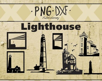 Lighthouse silhouette SVG DXF PNG files- - 7 cut file library files - scrapbooking - vinyl craft - stencil