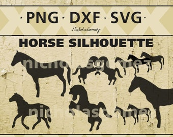 Horse silhouette clipart - DIGITAL DOWNLOAD - png files - dxf files - svg files -cut files - scrapbooking - stencil - stencils art