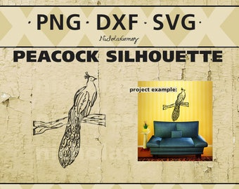 Peacock silhouette clipart - DIGITAL DOWNLOAD - png files - dxf files - svg files -cut files - scrapbooking - stencil - stencils art