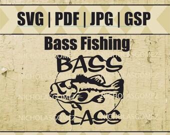 Fishing Bass Design Silhouette SVG JPG GSP File stencil stencils art
