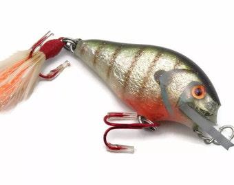 Folk Art Fishing Lure Crankbait Vintage Tackle Handcrafted Gift
