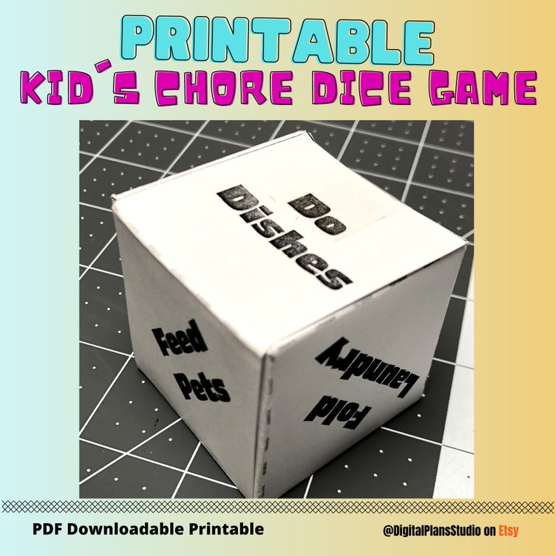 Kid Cleaning Chore Dice Game for Children Playing Roomate Fun image 0